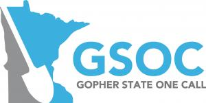 Gopher State One Call logo, grey and turquoise blue Minnesota image with shovel