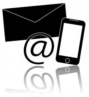 clip art graphic of envelope, cell phone and @ symbol for email